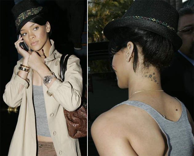 Here's an example picture of Rihanna's tattoo. star tattoo