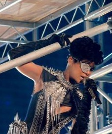 rihanna wears creepy sparkly erickson beamon eye patch